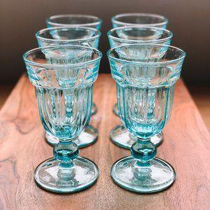 vintage | Set of 6 Aqua Teal Blue Pedestal Goblets